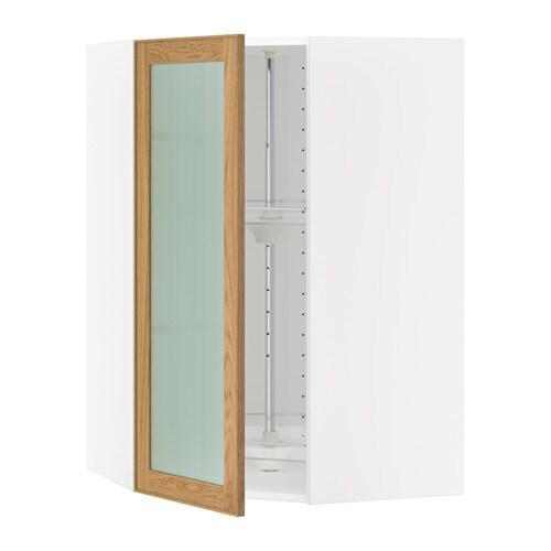 METOD Seinäkulmakaappi+karuselli vitrovi  valkoinen, Ekestad tammi, 68×100 c