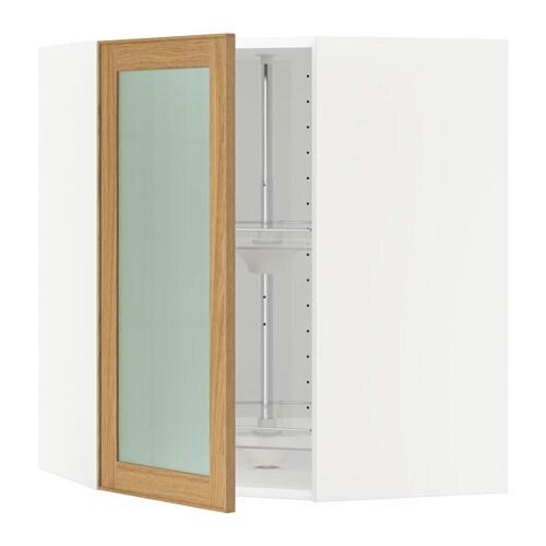 METOD Seinäkulmakaappi+karuselli vitrovi  valkoinen, Ekestad tammi, 68×80 cm