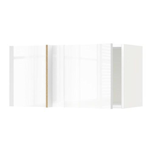 METOD Seinäkulmakaappi  valkoinen, Ringhult korkeakiilto valkoinen  IKEA