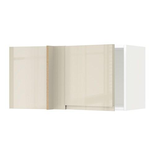 METOD Seinäkulmakaappi  valkoinen, Voxtorp korkeakiilto vaalea beige  IKEA