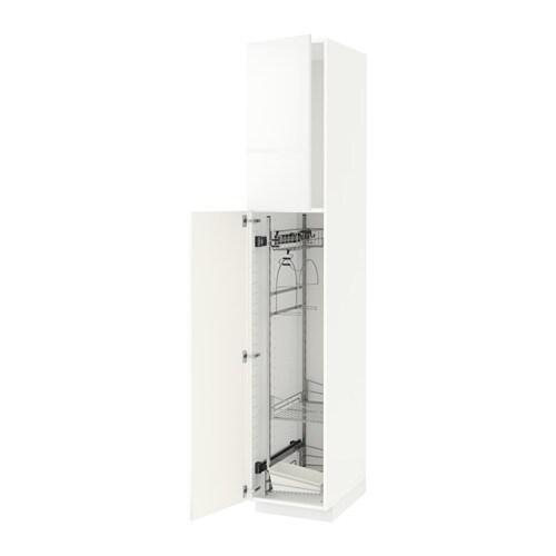 METOD Siivouskaappi  valkoinen, Ringhult korkeakiilto valkoinen, 40x60x220 c