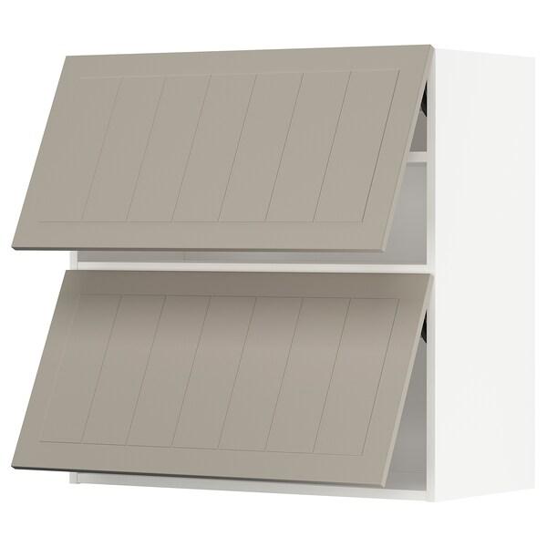 METOD Vaakasuunt seinäkaappi 2 o ponns, valkoinen/Stensund beige, 80x80 cm