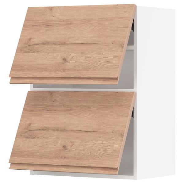 METOD Vaakasuunt seinäkaappi 2 o ponns, valkoinen/Voxtorp tammikuvio, 60x80 cm