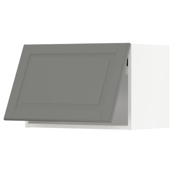 METOD Vaakasuuntainen seinäkaappi, valkoinen/Bodbyn harmaa, 60x40 cm
