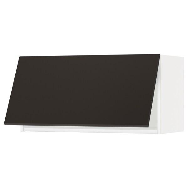 METOD Vaakasuuntainen seinäkaappi, valkoinen/Kungsbacka antrasiitti, 80x40 cm