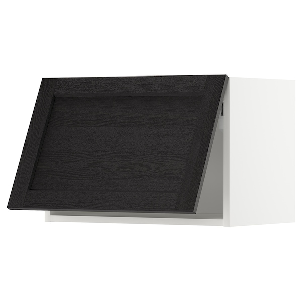 METOD Vaakasuuntainen seinäkaappi, valkoinen/Lerhyttan mustaksi petsattu, 60x40 cm