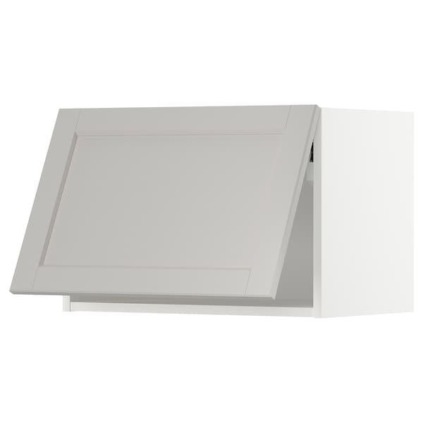 METOD Vaakasuuntainen seinäkaappi, valkoinen/Lerhyttan vaaleanharmaa, 60x40 cm