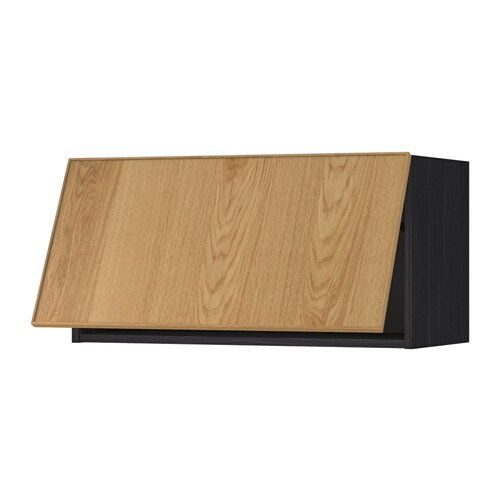 METOD Vaakasuuntainen seinäkaappi  puukuvioitu musta, Ekestad tammi, 80×40 c