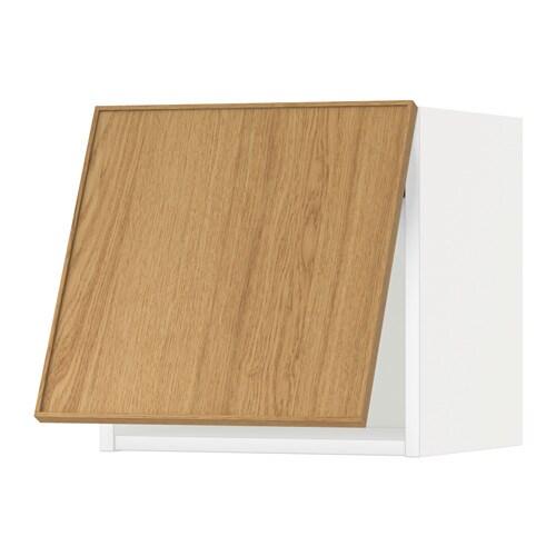 METOD Vaakasuuntainen seinäkaappi  valkoinen, Ekestad tammi, 40×40 cm  IKEA