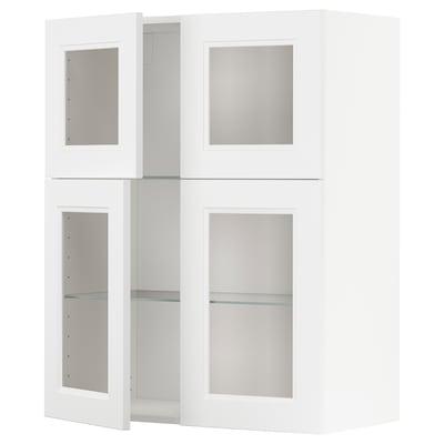 METOD seinäkaappi lasihyllyillä/4 vitrov valkoinen/Axstad matta valkoinen 80.0 cm 38.8 cm 100.0 cm