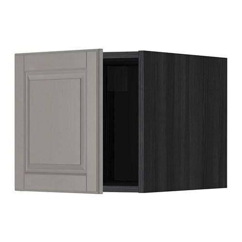 METOD Yläkaappi  puukuvioitu musta, Bodbyn harmaa  IKEA