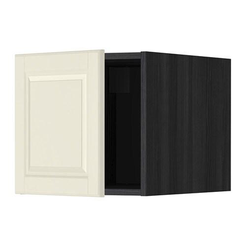 METOD Yläkaappi  puukuvioitu musta, Bodbyn luonnonvalkoinen  IKEA