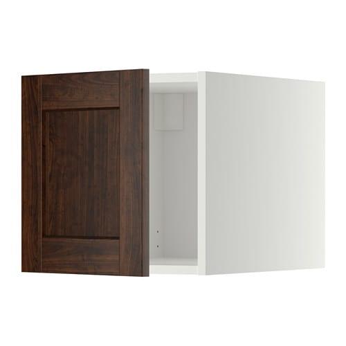 METOD Yläkaappi  valkoinen, Edserum puukuvioitu ruskea  IKE