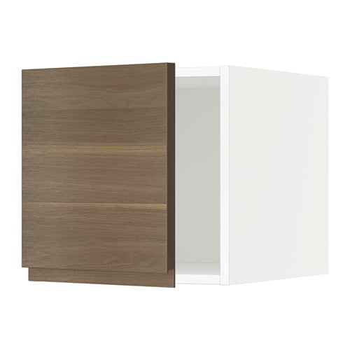 METOD Yläkaappi  valkoinen, Voxtorp pähkinäpuukuvio  IKEA
