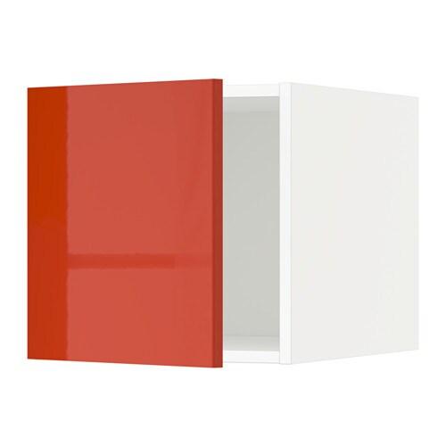 METOD Yläkaappi  valkoinen, Järsta korkeakiilto oranssi