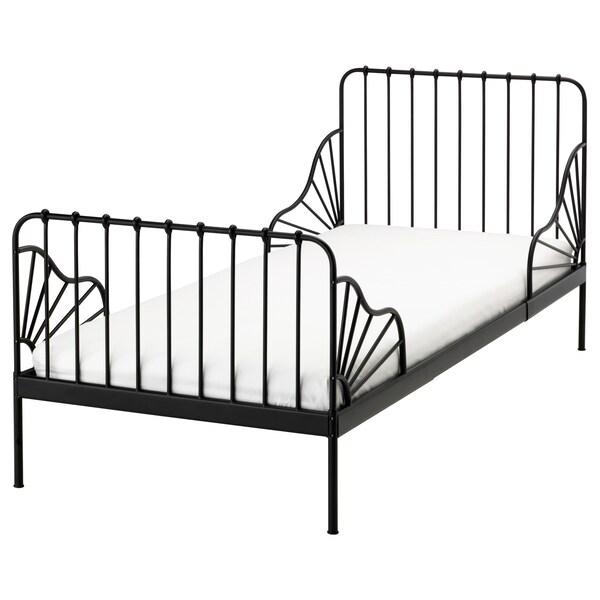 MINNEN Jatkettava sängynrunko + sälepohja, musta, 80x200 cm