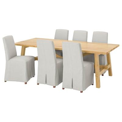 MÖCKELBY / BERGMUND Pöytä + 6 tuolia, tammi/Kolboda beige/tummanharmaa, 235x100 cm