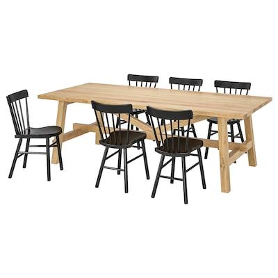 MÖCKELBY / NORRARYD Pöytä + 6 tuolia, tammi/musta, 235x100 cm