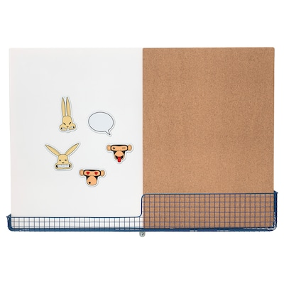 MÖJLIGHET Ilmoitustaulu/kirjoitustaulu+kori, valkoinen/sininen, 71x49 cm