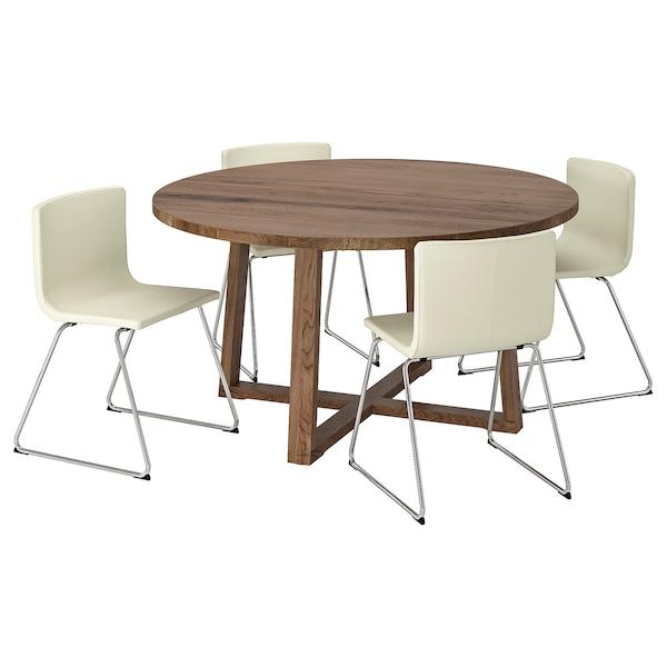 MÖRBYLÅNGA / BERNHARD Pöytä + 4 tuolia, tammiviilu ruskeaksi petsattu/Mjuk valkoinen, 145 cm