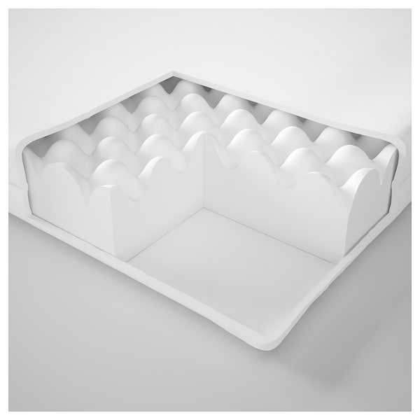 MOSHULT Vaahtomuovipatja, kiinteä/valkoinen, 90x200 cm