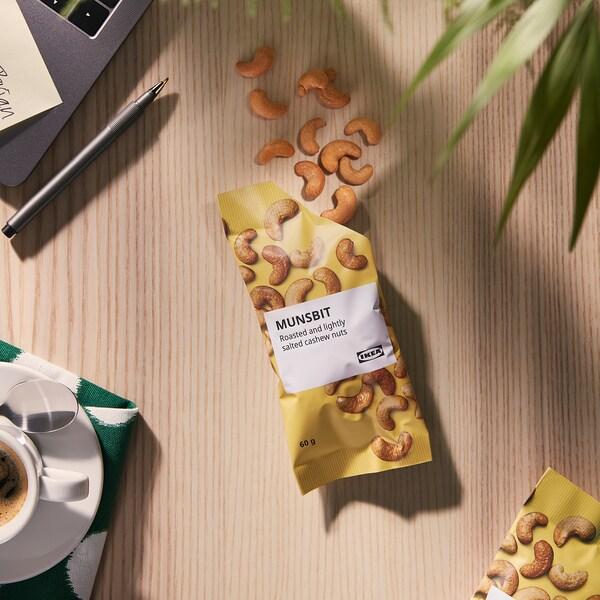 MUNSBIT Paahdetut cashewpähkinät, vähäsuolainen, 60 g