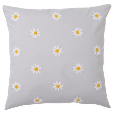 NATTSLÄNDA Tyynynpäällinen, kukkakuvio harmaa/valkoinen, 50x50 cm