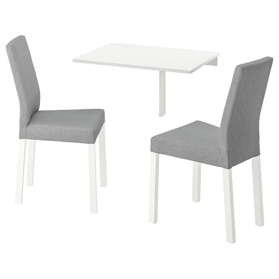 NORBERG / KÄTTIL Pöytä + 2 tuolia, valkoinen/Knisa vaaleanharmaa, 74 cm