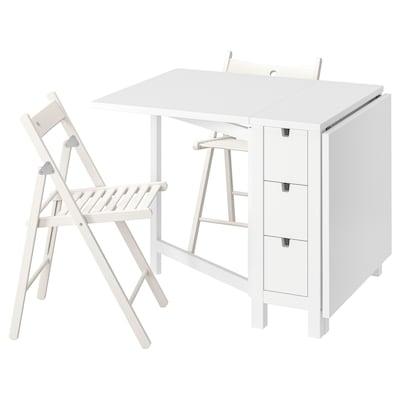 NORDEN / TERJE Pöytä + 2 taittotuolia, valkoinen/valkoinen, 26/89/152 cm