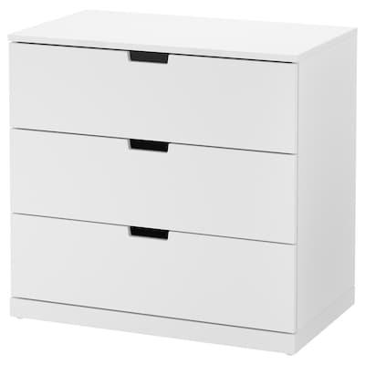 NORDLI lipasto, 3 laatikkoa valkoinen 80 cm 47 cm 76 cm 37 cm