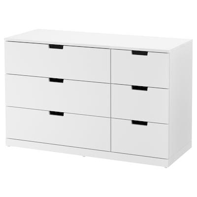 NORDLI Lipasto, 6 laatikkoa, valkoinen, 120x76 cm