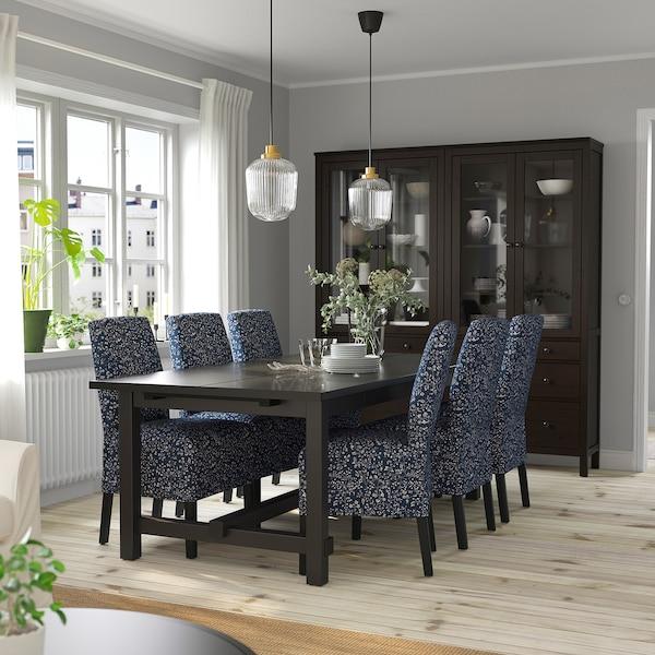 NORDVIKEN / BERGMUND Pöytä + 6 tuolia, musta/Ryrane tummansininen, 210/289 cm