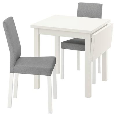 NORDVIKEN / KÄTTIL Pöytä + 2 tuolia, valkoinen/Knisa vaaleanharmaa, 74/104 cm