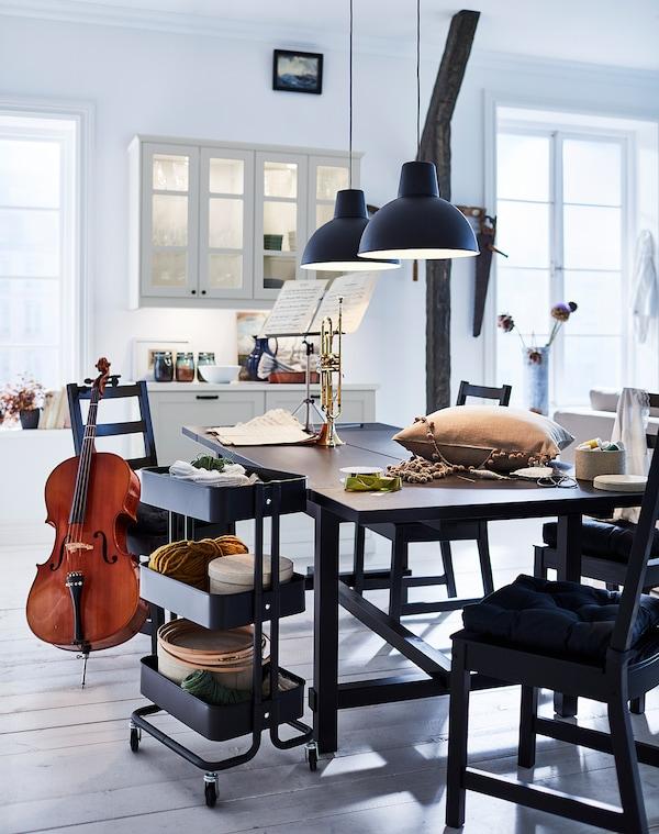 NORDVIKEN Ruokapöytä, jatkettava, musta, 210/289x105 cm