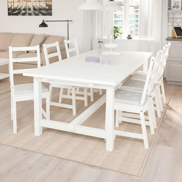 NORDVIKEN Ruokapöytä, jatkettava, valkoinen, 210/289x105 cm