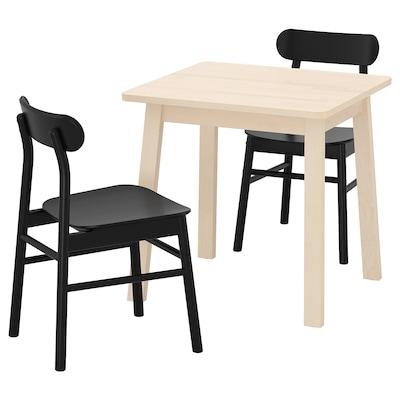 NORRÅKER / RÖNNINGE Pöytä + 2 tuolia, koivu musta, 74x74 cm