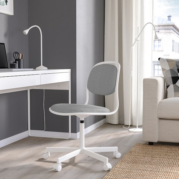 ÖRFJÄLL Työtuoli, valkoinen/Vissle vaaleanharmaa