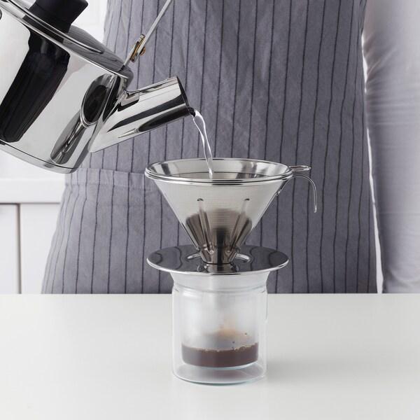 ÖVERST 3-osainen metallisuodatin kahville ruostumaton teräs