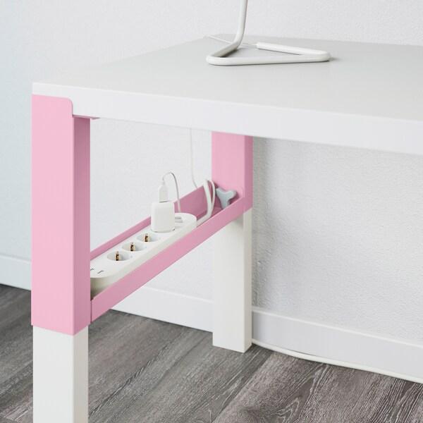 PÅHL Työpöytä+lisäosa, valkoinen/roosa, 128x58 cm