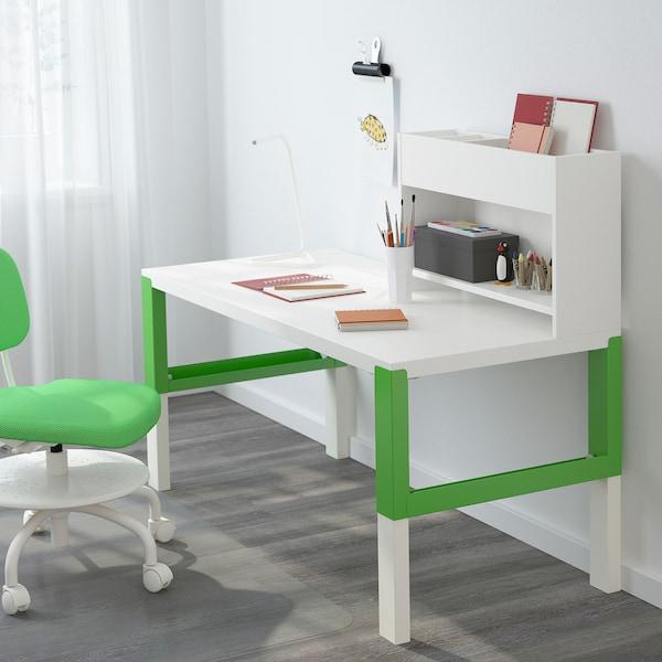 PÅHL Työpöytä+lisäosa, valkoinen/vihreä, 128x58 cm