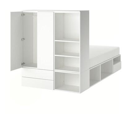 PLATSA sängynrunko+2 ovea ja 3 laatikkoa valkoinen/Fonnes 40 cm 243.9 cm 141.6 cm 43 cm 162.6 cm 200 cm 140 cm