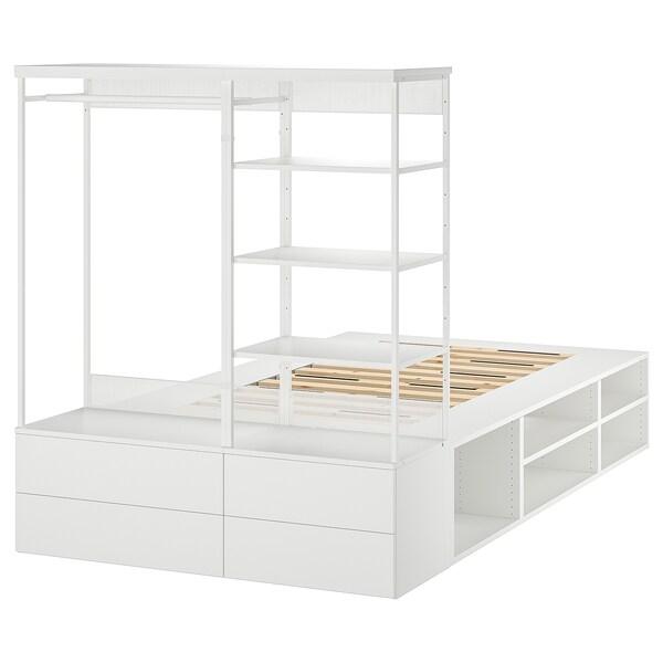 PLATSA sängynrunko+4 laatikkoa valkoinen/Fonnes 40 cm 243.9 cm 140.1 cm 43 cm 162.6 cm 200 cm 140 cm