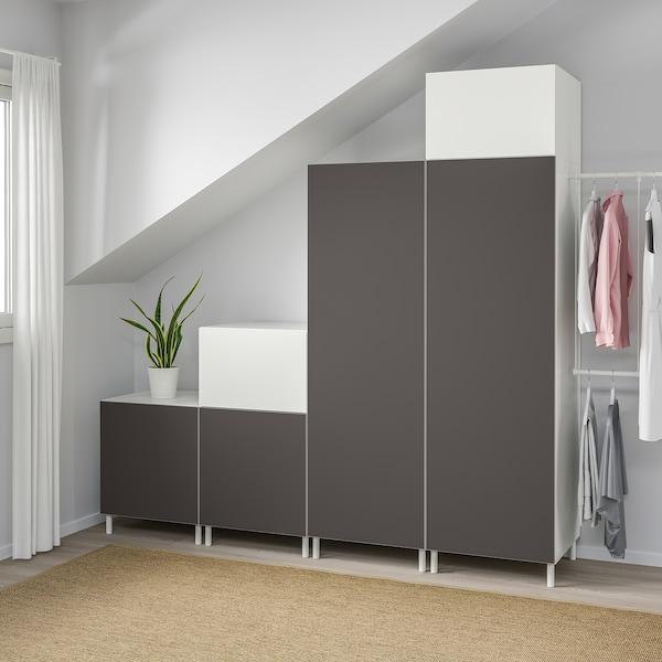 PLATSA Vaatekaappi, valkoinen Fonnes/Skatval tummanharmaa, 275-300x57x231 cm