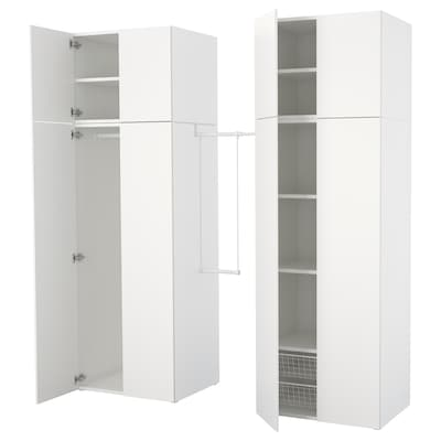 PLATSA Vaatekaappi, valkoinen/Fonnes valkoinen, 195-220x57x241 cm