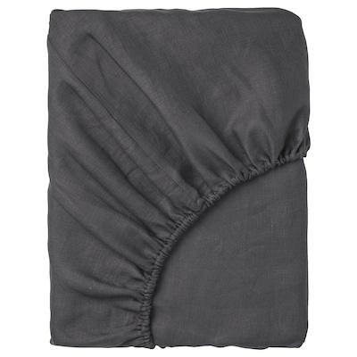 PUDERVIVA muotoonommeltu lakana tummanharmaa 104 neliötuuma 200 cm 160 cm 36 cm
