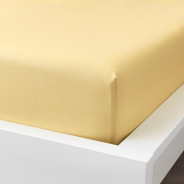 PUDERVIVA Muotoonommeltu lakana, vaaleankeltainen, 90x200 cm
