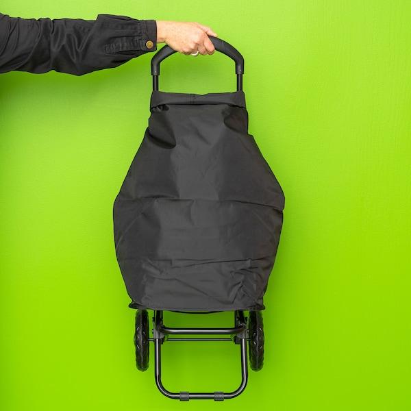 RADARBULLE Pyörällinen ostoskassi, musta, 33x24x68 cm/38 l