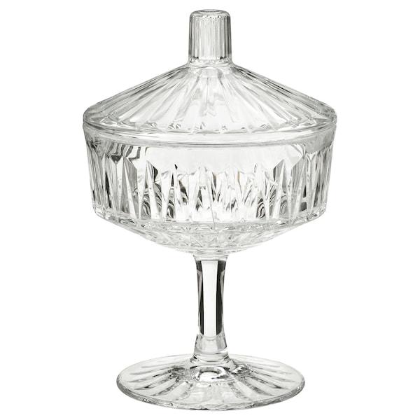 SÄLLSKAPLIG Kannellinen kulho, kirkas lasi/kuvioitu, 10 cm