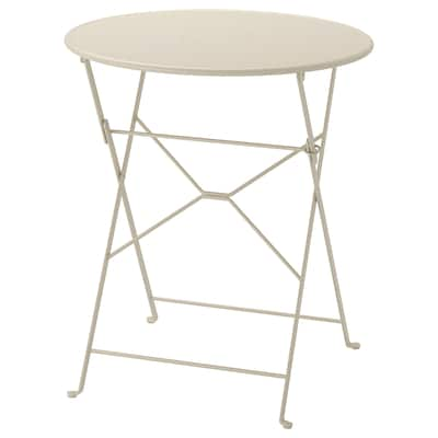 SALTHOLMEN pöytä, ulkokäyttöön kokoontaitettava beige 71 cm 65 cm