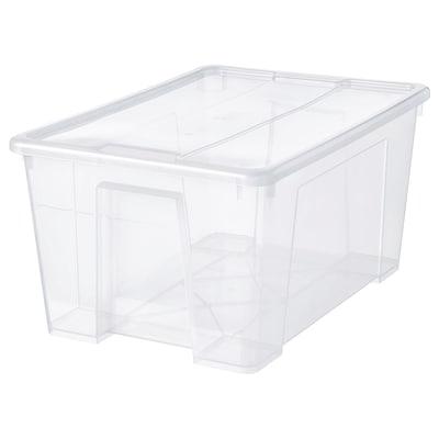 SAMLA Kannellinen laatikko, läpikuultava, 57x39x28 cm/45 l